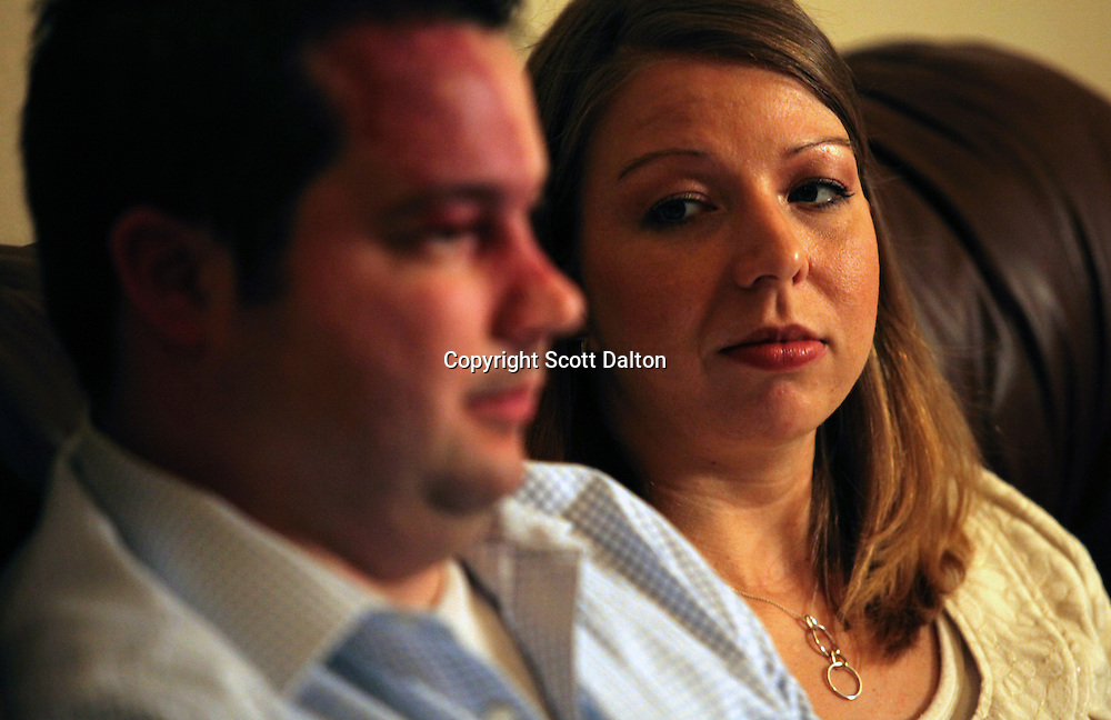 Tom and Amanda Stansel during an interview with the NYT in their home in Houston, TX on Wednesday, September 9, 2009. The couple conceived sextuplets via IVF. Amanda carried all six babies to term, but three have since died. (Photo/Scott Dalton)