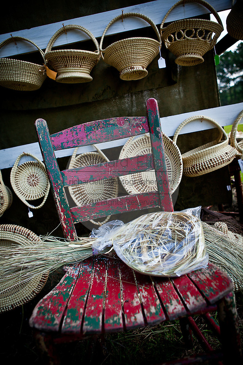A Gullah sweet grass stand in Mt Pleasant, SC.