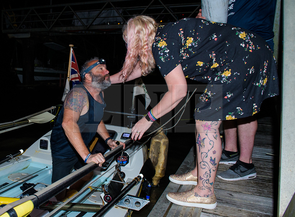 © Licensed to London News Pictures. 11/03/2019.  Briton Lee Spencer, pictured being greeted by his wife  Claire, a 49 year-old single leg amputee, has beaten the able-bodied World Record for rowing solo across the Atlantic, in his boat - Hope - from mainland Europe to mainland South America, by 36 days. By reaching Cayenne, French Guiana he has become the world's first physically disabled person to do the crossing and completed it in 60 days, leaving Portimao, Portugal, less than two months ago. Lee undertook the row to demonstrate that no-one should be labelled or defined by their disabilities whilst also raising money for the Endeavour Fund and The Royal Marines Charity.. Photo credit: Anthony Upton/LNP<br /> <br /> For further info please contact<br /> Isobel@isobelcamier.com<br /> +447813 213274