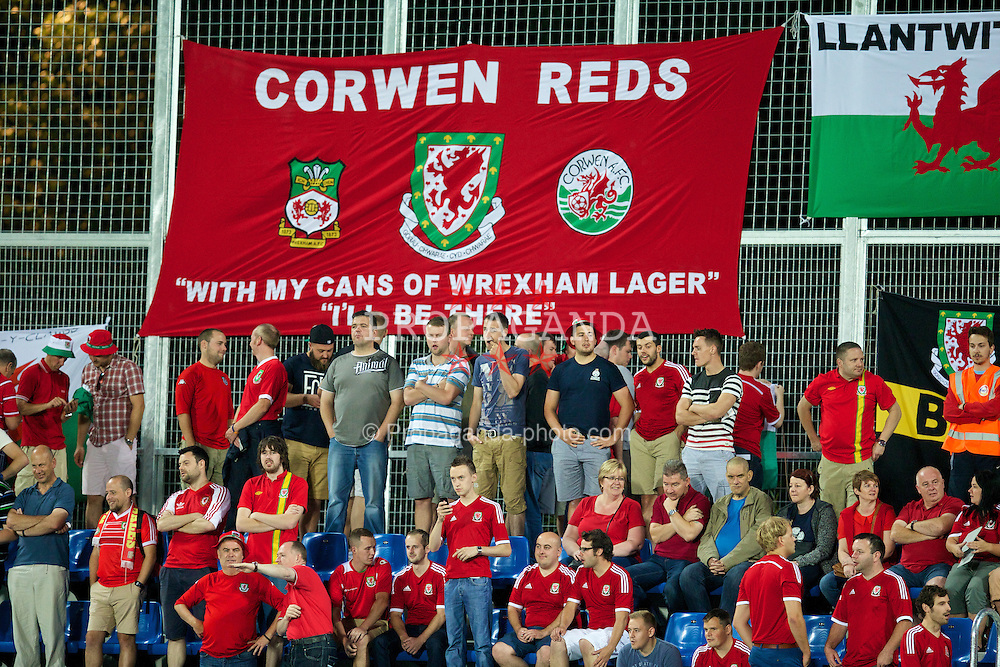 ANDORRA LA VELLA, ANDORRA - Tuesday, September 9, 2014: Wales supporters before the opening UEFA Euro 2016 qualifying match against Andorra at the Camp d'Esports del M.I. Consell General. (Pic by David Rawcliffe/Propaganda)