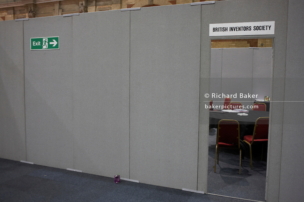 Entrance to a vacant British Inventors Society (BIS) at their stand at an inventors fair in Alexandra Palace