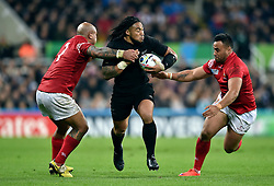 Ma'a Nonu of New Zealand takes on the Tonga defence - Mandatory byline: Patrick Khachfe/JMP - 07966 386802 - 09/10/2015 - RUGBY UNION - St James' Park - Newcastle, England - New Zealand v Tonga - Rugby World Cup 2015 Pool C.
