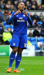 Kenneth Zohore of Cardiff City reacts after missing a chance to score another goal - Mandatory by-line: Nizaam Jones/JMP- 30/03/2018 -  FOOTBALL -  Cardiff City Stadium- Cardiff, Wales -  Cardiff City v Burton Albion - Sky Bet Championship