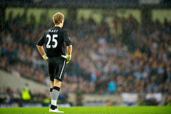 MANCHESTER, ENGLAND - Monday, August 23, 2010: Manchester City's goalkeeper Joe Hart in the rain during the Premiership match against Liverpool at the City of Manchester Stadium. (Photo by David Rawcliffe/Propaganda)