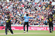 Sussex's Jofra Archer celebrates his wicket during the Vitality T20 Finals Day semi final 2018 match between Sussex Sharks and Somerset at Edgbaston, Birmingham, United Kingdom on 15 September 2018.