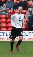 Photo: Mark Stephenson.<br />Walsall v Barnet. Coca Cola League 2. 24/02/2007. Barnet's Oliver Allan celebrates his goal