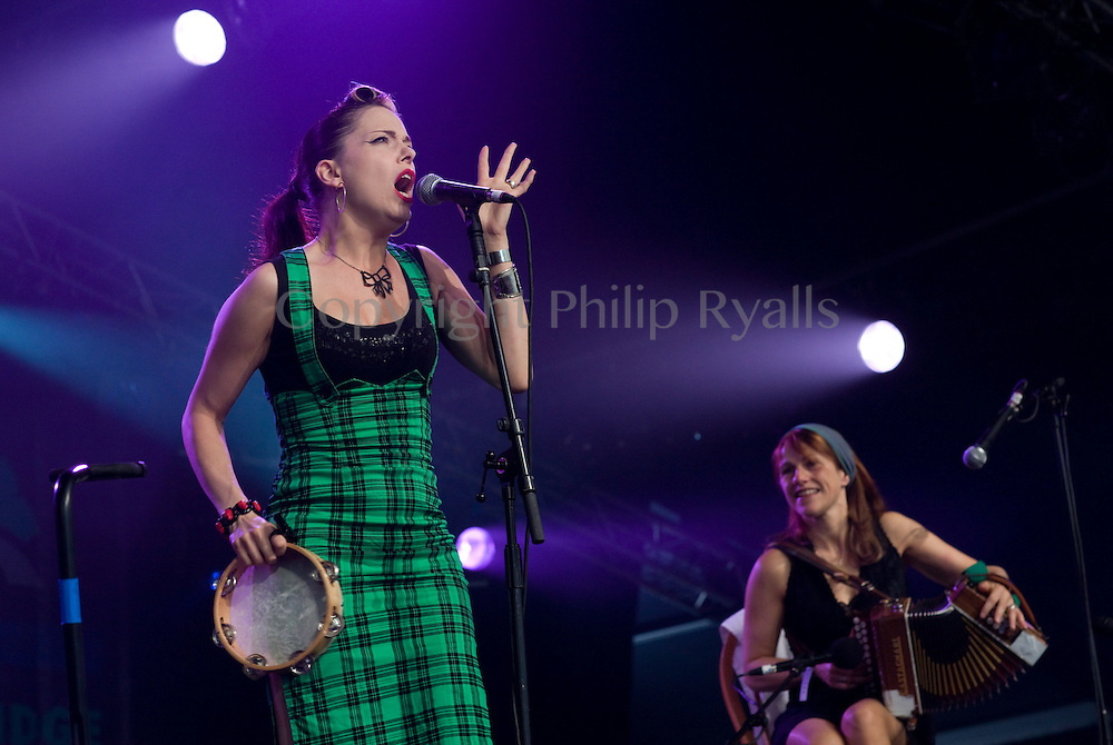 CAMBRIDGE; UK - JULY 30: (L-R) Imelda May & Sharon Shannon perform on stage at Cambridge Folk Festival on July 30th; 2010 in Cambridge; United Kingdom. (Photo by Philip Ryalls/Redferns)**Imelda May & Sharon Shannon