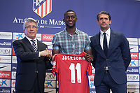Atletico Madrid's President Enrique Cerezo (L), Jose Luis Perez Caminero (R) and Jackson Martinez during his presentation as new player of the Spanish Primera Division soccer club at Vicente Calderon stadium in Madrid, Spain. July 26, 2015. (ALTERPHOTOS/Victor Blanco)