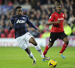 Man Utd Forward Danny Welbeck (ENG) is denied by Cardiff Goalkeeper David Marshall (SCO) - Photo mandatory by-line: Joseph Meredith/JMP - Tel: Mobile: 07966 386802 - 24/11/2013 - SPORT - FOOTBALL - Cardiff City Stadium - Cardiff City v Manchester United - Barclays Premier League.