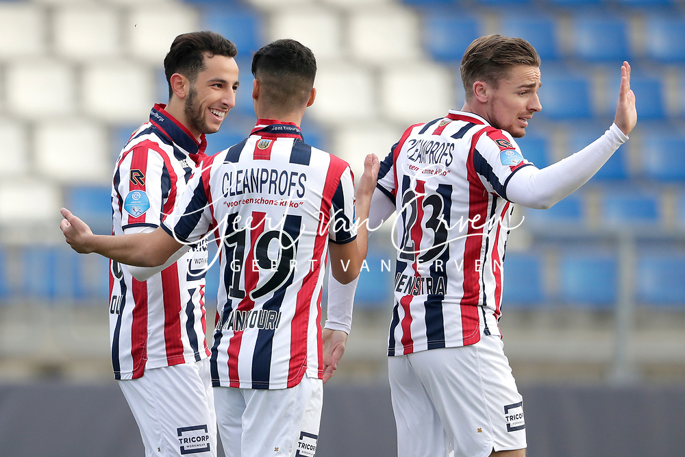 *Ismail Azzaoui* of Willem II celebrates 3-1 with *Mo El Hankouri* of Willem II, *Ben Rienstra* of Willem II