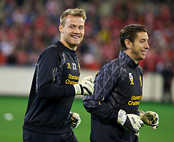 MELBOURNE, AUSTRALIA - Tuesday, July 23, 2013: Liverpool's goalkeeper Simon Mignolet and goalkeeper Brad Jones during a training session at the Melbourne Cricket Ground ahead of their preseason friendly against Melbourne Victory. (Pic by David Rawcliffe/Propaganda)