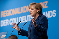 15 OCT 2010, BERLIN/GERMANY:<br /> Angela Merkel, CDU Bundesvorsitzende, beantwortet die Fragen der Teilnehmer, Regionalkonferenz der CDU fuer die Landesverbaende Berlin und Brandenburg, Palais am Funkturm<br /> IMAGE: 20101015-01-075<br /> KEYWORDS: Rede