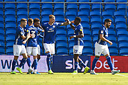 Goal - Aden Flint (5) of Cardiff City and Omar Bogle (27) of Cardiff City celebrate after the Ashley Fletcher (11) of Middlesbrough own goal gave Cardiff a 1-0 lead during the EFL Sky Bet Championship match between Cardiff City and Middlesbrough at the Cardiff City Stadium, Cardiff, Wales on 21 September 2019.