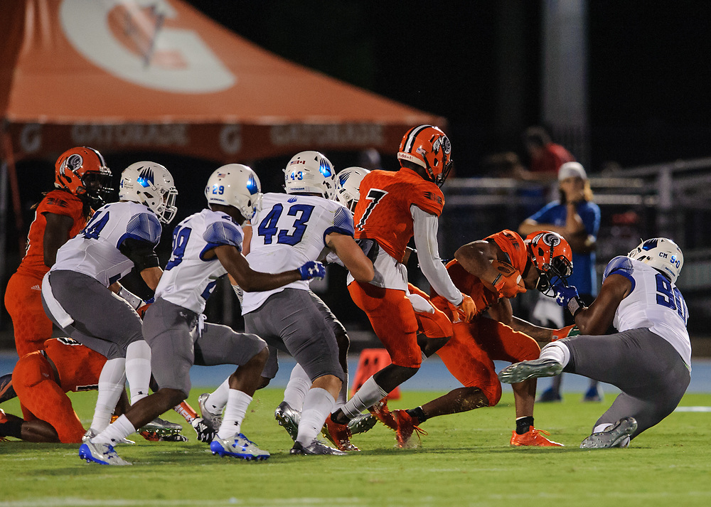 IMG Academy defeats Carol City in Bradenton, Fla., on Friday, August 18, 2017. IMG is the world's largest and most advanced multi-sport and education complex for youth, collegiate, professional and adult athletes. / (August 18, 2017; Photo by Casey Brooke Lawson)
