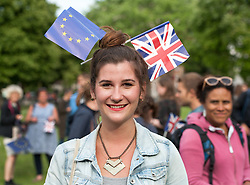 © Licensed to London News Pictures.14/07/2016. Bristol, UK.  Demonstrators on College Green in Bristol protest in favour of the EU and against Brexit ,the likelihood of Britain leaving the EU, on the French Bastille Day. The protest is part of a series of protests, organised by The Bristol Stays organisation, which held a couple of protests immediately after the EU Referendum in the city centre. The protest is being staged to keep the campaign against Brexit going, with the campaign saying Britain's economy continues to suffer just at the prospect of leaving the European Union. Photo credit : Simon Chapman/LNP