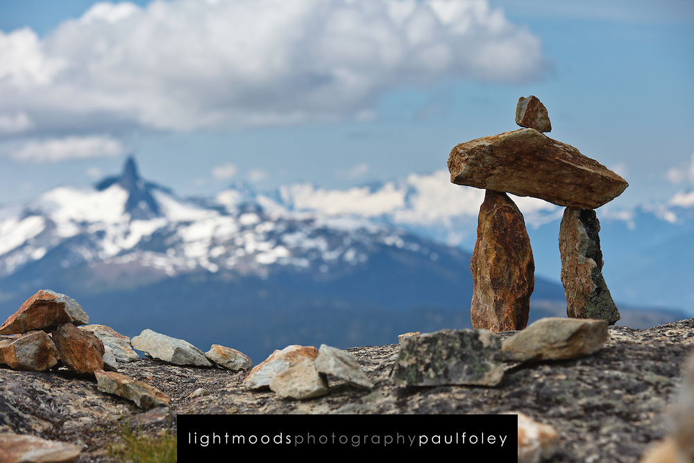 A tourist's representation of Inuksuk, Whistler Mountain, British Columbia, Canada,