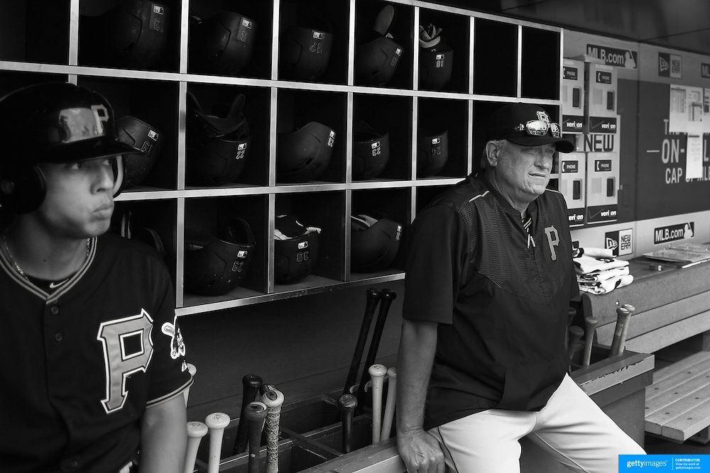 Clint Hurdle, Pittsburgh Pirates Manager in the dugout during the New York Mets Vs Pittsburgh Pirates MLB regular season baseball game at Citi Field, Queens, New York. USA. 16th August 2015. Photo Tim Clayton