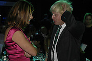 Trinni Woodall and Boris Johnson, The 7th GQ Man of the Year Awards, Royal Opera House. 7 September 2004. In association with Armani Mania. SUPPLIED FOR ONE-TIME USE ONLY-DO NOT ARCHIVE. © Copyright Photograph by Dafydd Jones 66 Stockwell Park Rd. London SW9 0DA Tel 020 7733 0108 www.dafjones.com