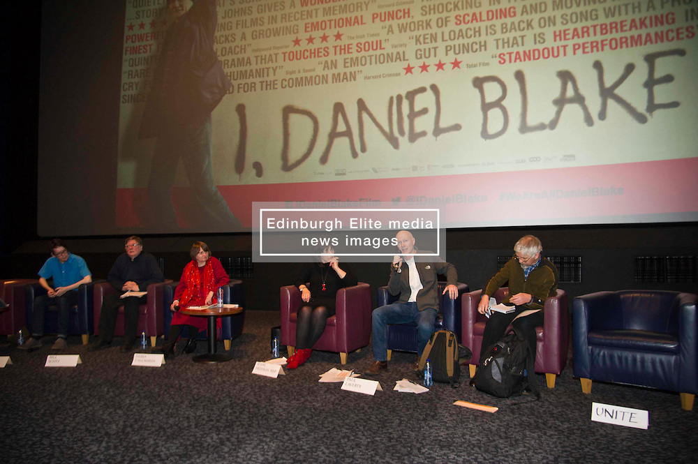 Pictured; Lewis Akers, Bill Scott, Sasha Gallagher, Jeane Fereeman, Paul Laverty and Mike Valance   <br /> <br /> The Ken Loach film 'I, Daniel Blake' was given a special screening in Edinburgh today in front of  anti-austerity campaigners. The event was arranged by William Black who was joined by the screenwriter, Paul Laverty, Minister for Social Security in Scotland Jeane Freeman, Lewis Akers, member of the Scottish Youth Parliament for Dunfermline, Mikle Valance, ACE and Action Against Poverty, Bill Scott, Inclusion Scotland with Sasha Gallagher afrom Disability History Scotland acting as co-ordinater of the Q&A. <br /> <br /> (c) Ger Harley   Edinburgh Elite media
