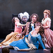 """April 25, 2012 - New York, NY : From left, Kaitlyn Costello-Fain, Jasmine Muhammad, Clayton Brown, Rebecca Krynski (in foreground), and Nicole Haslett  perform in The Manhattan School of Music Opera Theater's  presentation of John Corigliano's """"The Ghosts of Versailles"""" on Wednesday evening.  CREDIT : Karsten Moran for The New York Times"""