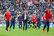 Manchester United Manager Louis van Gaal after the match during the The FA Cup semi final match between Everton and Manchester United at Wembley Stadium, London, England on 23 April 2016. Photo by Phil Duncan.