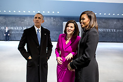 President Barack Obama and First Lady Michelle Obama talk with Vicki Kennedy, widow of Senator Ted Kennedy, upon arrival for the dedication of the Edward M. Kennedy Institute for the United States Senate in Boston, Mass., March 30, 2015. (Official White House Photo by Pete Souza)<br /> <br /> This official White House photograph is being made available only for publication by news organizations and/or for personal use printing by the subject(s) of the photograph. The photograph may not be manipulated in any way and may not be used in commercial or political materials, advertisements, emails, products, promotions that in any way suggests approval or endorsement of the President, the First Family, or the White House.