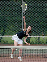 Elizabeth Rogers of Bow High School in her singles match for the NHIAA State Championship Tennis final at Plymouth State University.  (Karen Bobotas/for the Concord Monitor)