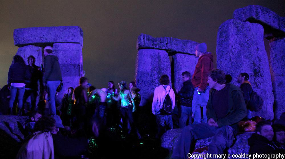 Sundown to sunrise on Summer Solstice celebration at Stonehenge.