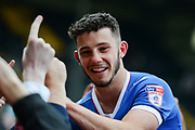 Portsmouth forward Conor Chaplin (19) celebrates with the Pompey fans during the EFL Sky Bet League 2 match between Notts County and Portsmouth at Meadow Lane, Nottingham, England on 17 April 2017. Photo by Jon Hobley.