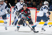 KELOWNA, CANADA - DECEMBER 3: Kris Schmidli #16 of Kelowna Rockets looks for the pass against the Saskatoon Blades on December 3, 2014 at Prospera Place in Kelowna, British Columbia, Canada.  (Photo by Marissa Baecker/Shoot the Breeze)  *** Local Caption *** Kris Schmidli;