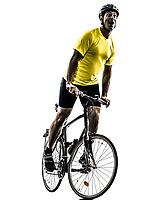 one  man exercising bicycle mountain bike happy joy on white background