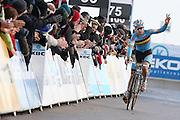 BELGIUM / KOKSIJDE / CYCLING / WIELRENNEN / CYCLISME / CYCLOCROSS / CYCLO-CROSS / VELDRIJDEN / WERELDBEKER / WORLD CUP / COUPE DU MONDE / U23 / AANKOMST / FINISH / ARRIVEE / ZIEL / GIANNI VERMEERSCH (3RD) /