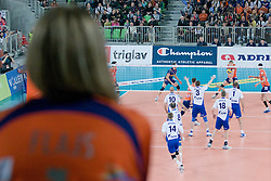 Fan and view on the court during volleyball match between ACH Volley (SLO) and Zenit Kazan (RUS) in Playoffs 12 Round of 2011 CEV Champions League, on February 2, 2011 in Arena Stozice, Ljubljana, Slovenia. (Photo By Matic Klansek Velej / Sportida.com)