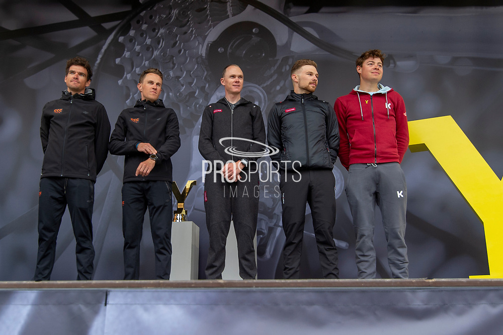 Riders On stage in the fans willage Greg Van Avermaet, Serge Pauwels, Christopher Froome OBE, Owain Doull, Harry Tanfield winner of stage 1 in the 2018 Tour De Yorkshire during the Eve of Tour celebrations in Millennium square,Leeds, United Kingdom on 1 May 2019.