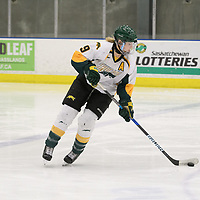 4th year forward Emma Waldenberger (9) of the Regina Cougars in action during the Women's Hockey home game on February 10 at Co-operators arena. Credit: Arthur Ward/Arthur Images
