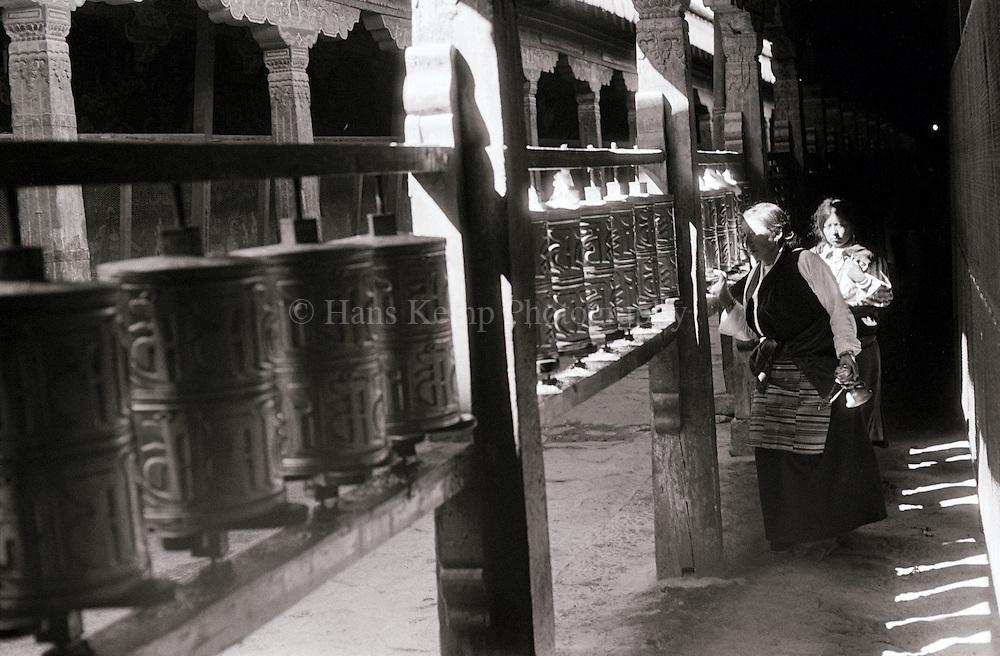 Prayer wheels at the Jokhang in Lhasa, Tibet, 1988