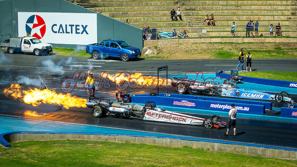 Daniel Miocevich (Aftershock) and Curt White (Ice Man) warm up their Jet Dragsters prior to a practice run at the Perth Motorplex's Night of Fire event - © Phil Luyer - High Octane Photos