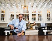 Phillip Ivey works the bar at the Carolina Inn.