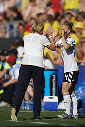 June 29, 2019 - Rennes, France - Martina Voss-Tecklenburg head coach of Germany abd Leonie Maier (FC Bayern Munchen) of Germany during the 2019 FIFA Women's World Cup France Quarter Final match between Germany and Sweden at Roazhon Park on June 29, 2019 in Rennes, France. (Credit Image: © Jose Breton/NurPhoto via ZUMA Press)