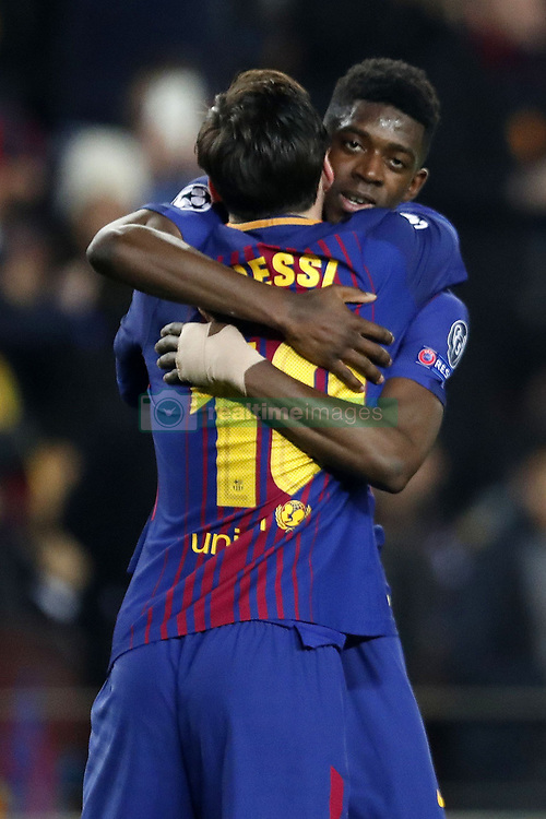 (l-r) Lionel Messi of FC Barcelona, Ousmane Dembele of FC Barcelona during the UEFA Champions League round of 16 match between FC Barcelona and Chelsea FC at the Camp Nou stadium on March 14, 2018 in Barcelona, Spain.