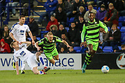 Forest Green Rovers Marcus Kelly(10) is tackled by Tranmere Rovers Jeff Hughes(24) during the Vanarama National League match between Tranmere Rovers and Forest Green Rovers at Prenton Park, Birkenhead, England on 11 April 2017. Photo by Shane Healey.