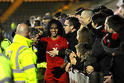Match winning goalscorer Sandro Semedo (22) of Leyton Orient  of Leyton Orient celebrates the 3-2 win over Plymouth with the fans at full time during the EFL Sky Bet League 2 match between Plymouth Argyle and Leyton Orient at Home Park, Plymouth, England on 14 February 2017. Photo by Graham Hunt.