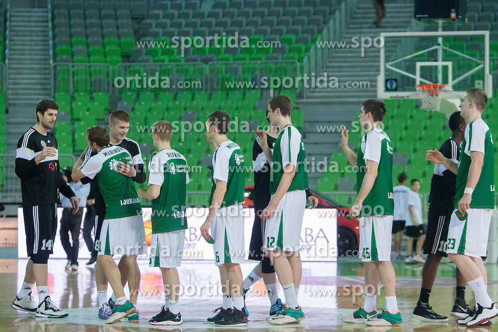 Players before basketball match between KK Union Olimpija and BC Partizan NIS in 4th Round of ABA League 2014/15, on October 19, 2014 in Arena Stozice, Ljubljana, Slovenia. Photo by Urban Urbanc / Sportida.com