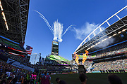 General overall view of fireworks and pyrotechnics before the MLS soccer match between the LA Galaxy and the Seattle Sounders on Saturday, September 1, 2019, in Seattle, Washington. (Alika Jenner/Image of Sport via AP)