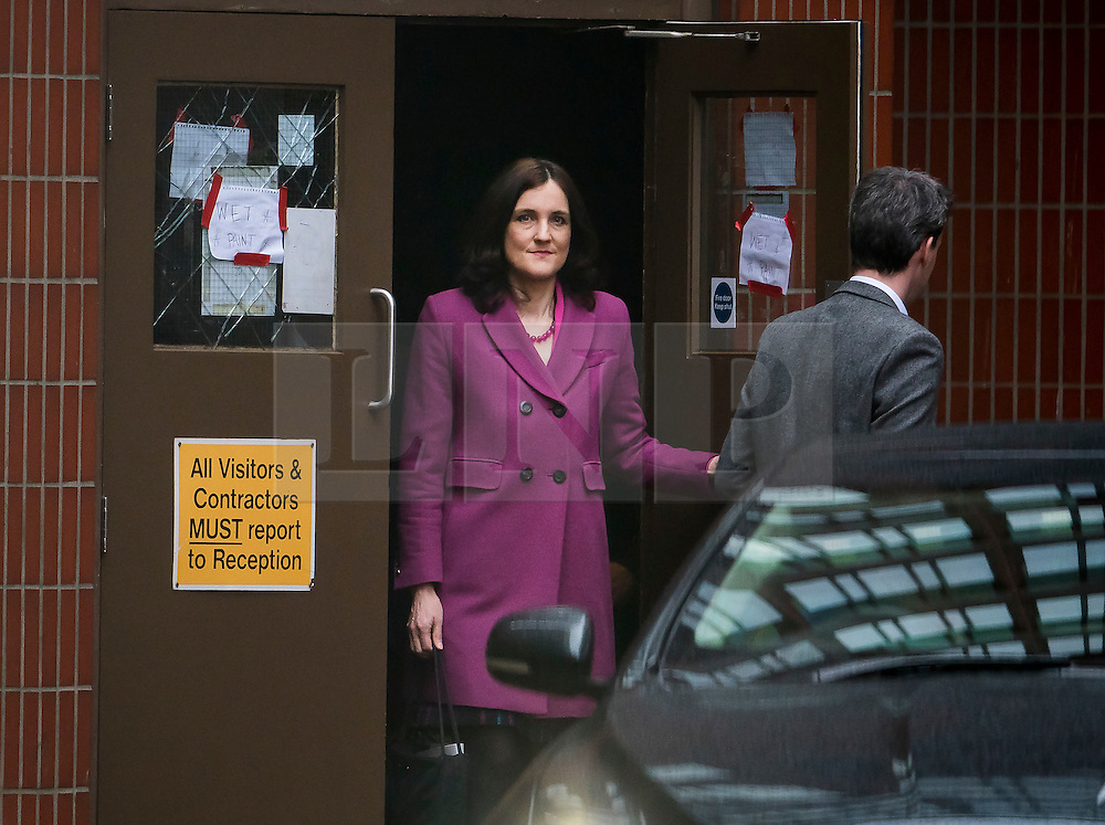 © Licensed to London News Pictures. 20/02/2016. London, UK. THERESA VILLIERS leaving a 'Vote Leave' meeting in Westminster via a back door after announcing she will vote against UK membership of the EU. . Photo credit: Ben Cawthra/LNP
