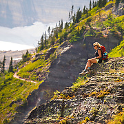 Enjoying the view from the Grinnell Glacier Trail, Glacier National Park, Montana.