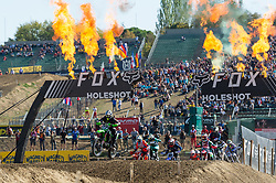 September 30, 2018 - Imola, BO, Italy - Alessandro LUPINO (ITA) leads the group after the first turn of beginning lap in Race 1 of MXGP Italy in Imola. (Credit Image: © Riccardo Righetti/ZUMA Wire)