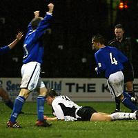 Ayr Utd v St Johnstone...13.12.03<br />Paul Bernard wheels awaya after scoring for St Johnstone<br /><br />Picture by Graeme Hart.<br />Copyright Perthshire Picture Agency<br />Tel: 01738 623350  Mobile: 07990 594431