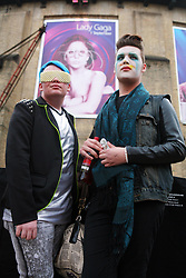 © Licensed to London News Pictures<br /> From left, Kieran Marshall, 18, from Devon and Jordan Cotterell, 18 from North Wales, camped outside the Roundhouse in Camden, London, to queue for Lady Gaga's performance tonight.