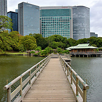 Tidal Pond and Teahouses at Hama-rikyu Gardens in Tokyo, Japan<br /> Hama-rikyu Gardens is a delightful oasis from Tokyo&rsquo;s glass towers in Shiodome. Defining the property is Shioiri-no-ike, a seawater pond influenced by the flowing tide. Spanning the peaceful water are footbridges. The O-tsutai-bashi is made from cypress wood and stretches 387 feet. Accenting the garden are three teahouses. Suspended on a platform is the Nakajima-no-ochaya. The other two reproductions are Matsu-no-ochaya (Pine Teahouse) and Tsubame-no-ochaya (Swallow Teahouse).